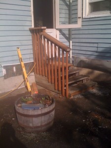 Completed handrail on the patio stairs